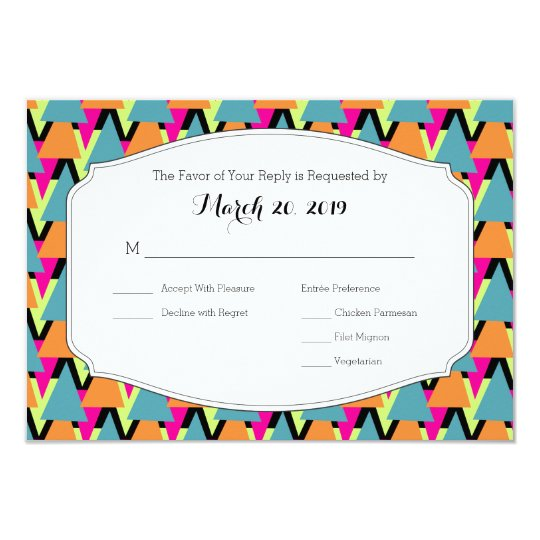 Wedding RSVP 80's Style Geometric Pattern Card