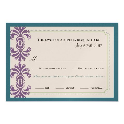 Wedding RSVP border graphic with meal selection Personalized Invite
