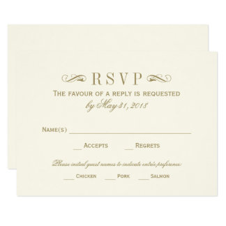 Wedding RSVP Card | Antique Gold Flourish