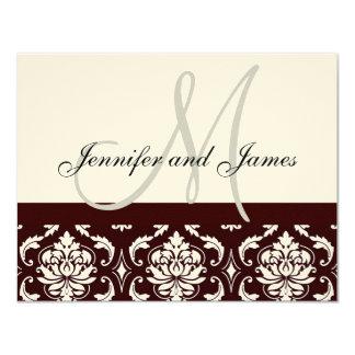 "Wedding RSVP Card Brown Damask Monogram Names 4.25"" X 5.5"" Invitation Card"