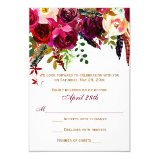 Wedding RSVP Card - Burgundy Floral, Feathers