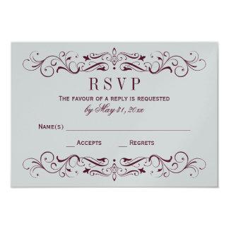 Wedding RSVP Card   Burgundy Flourish