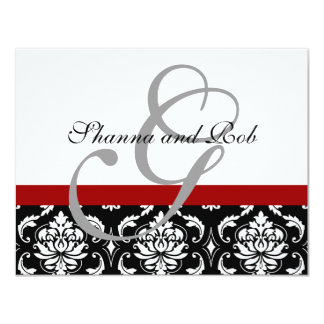 "Wedding RSVP Card Damask Monogram & Names 4.25"" X 5.5"" Invitation Card"