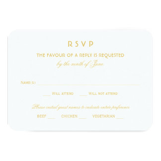 Wedding RSVP Card | Gold Vintage Glamour Announcement