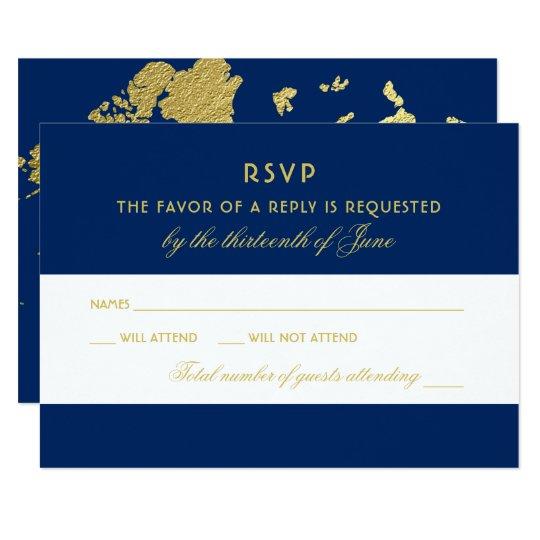 Wedding RSVP Card | Gold World Map