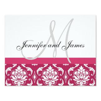 Wedding RSVP Card Hot Pink Damask Monogram & Names