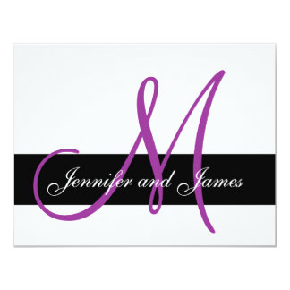 "Wedding RSVP Card Monogram Names Purple Front 4.25"" X 5.5"" Invitation Card"