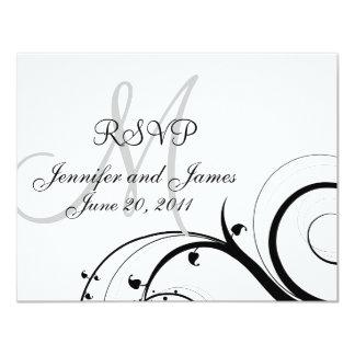 "Wedding RSVP Card Monogram Names Swirls Back 4.25"" X 5.5"" Invitation Card"