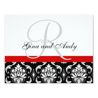 "Wedding RSVP Card Red Damask Monogram & Names 4.25"" X 5.5"" Invitation Card"
