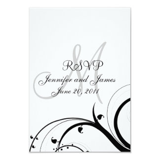 Wedding RSVP Card Swirls for Square Invite