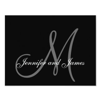 "Wedding RSVP Card with Monogram and Names Back 4.25"" X 5.5"" Invitation Card"