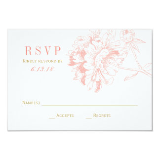 """Wedding RSVP Cards   Coral Floral Peony 3.5"""" X 5"""" Invitation Card"""