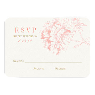 Wedding RSVP Cards | Coral Floral Peony Custom Announcements