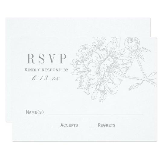 Wedding RSVP Cards   Grey Floral Peony