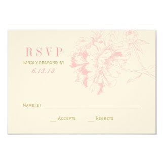 "Wedding RSVP Cards   Pink Floral Peony 3.5"" X 5"" Invitation Card"