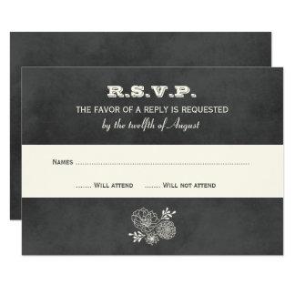 Wedding RSVP Cards | Vintage Black Chalkboard