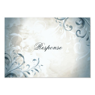 "Wedding RSVP Elegant Vintage Foliage & Swirl 3.5"" X 5"" Invitation Card"