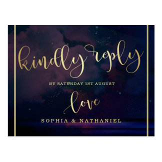 Wedding RSVP | Gold Script & Starry Night Sky Postcard