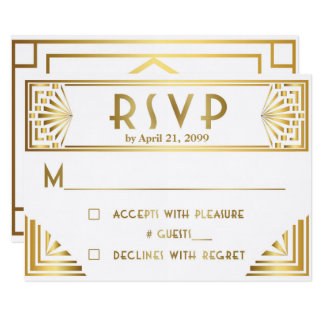 Wedding RSVP, Great Gatsby, gold on white Card