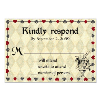 Wedding RSVP Kindly Respond,Alice in Wonderland Card