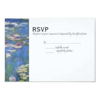"""Wedding RSVP // Monet Waterlilies 3.5"""" X 5"""" Invitation Card"""