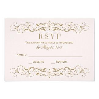 "Wedding RSVP Postcard   Antique Gold Flourish 3.5"" X 5"" Invitation Card"