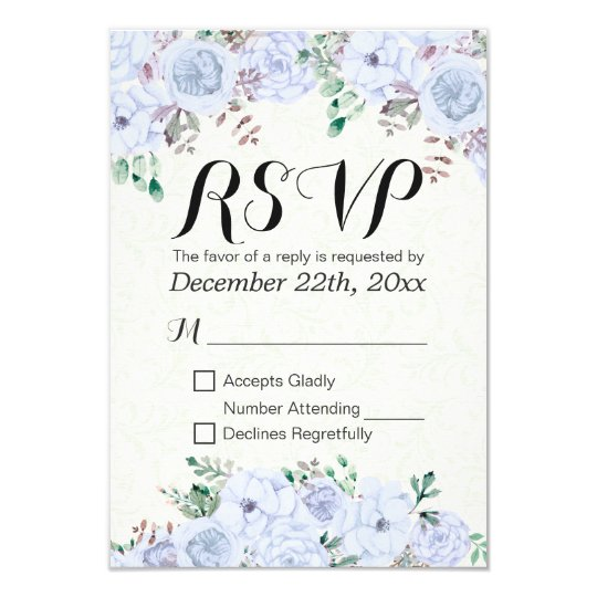Wedding RSVP Reply Elegant Blue Watercolor Floral Card