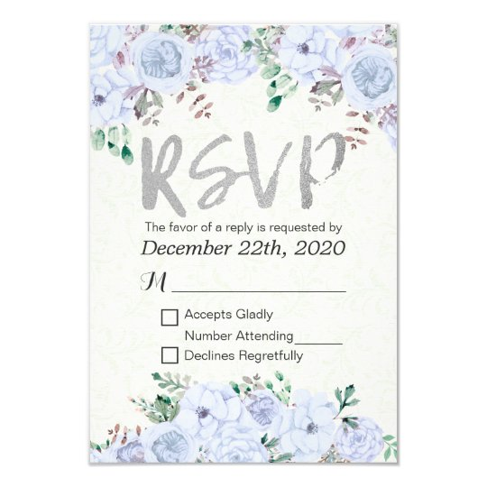 Wedding RSVP Reply Elegant Floral & Silver Script Card