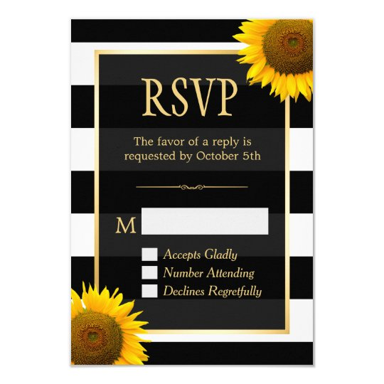 Wedding RSVP Rustic Sunflower Black White Striped Card