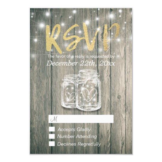 Wedding RSVP Rustic Wood & Mason Jar String Lights Card