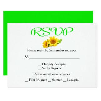 Wedding RSVP Sunflowers Yellow & Green Flowers Card