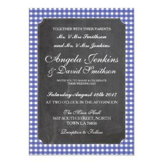Wedding Rustic Chalk Blue Check Invitation