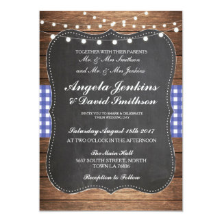 Wedding Rustic Chalk Blue Wood Lights Barn Invite
