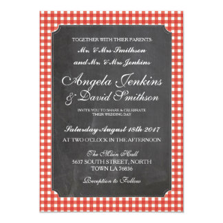 Wedding Rustic Chalk Red Check Invitation