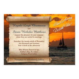 "Wedding | Sail Away With Us! | Sailboat | Sunset 5"" X 7"" Invitation Card"