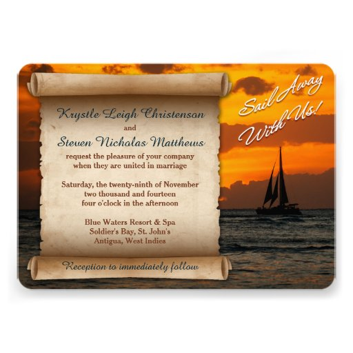 Wedding | Sail Away With Us! | Sailboat | Sunset Invites