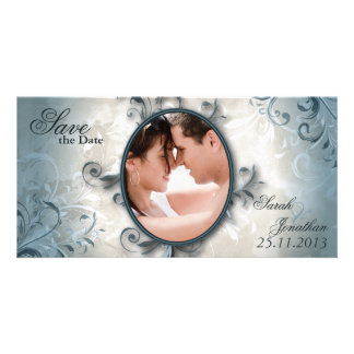 Wedding Save the Date Announcement Vintage Foliage Photo Card Template