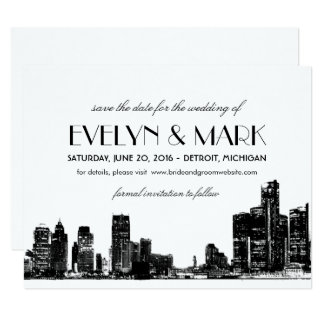 Wedding Save the Date | Art Deco Detroit Skyline Card