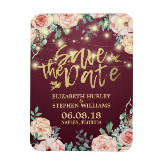 Wedding Save The Date Burgundy Floral String Light Magnet