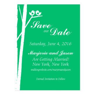 Wedding Save the Date Card Birch Tree Birds Green Postcard