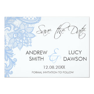 Wedding Save the Date card , Lace Flat Card