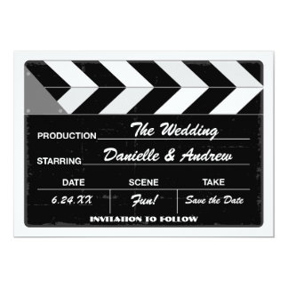 Wedding Save the Date Card | Movie Clap Board Announcements
