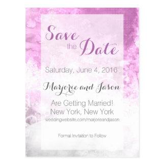 Wedding Save the Date card Watercolor Swirl Purple Postcard