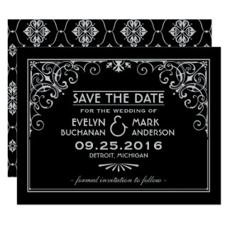"Wedding Save the Date Cards | Art Deco Style 4.25"" X 5.5"" Invitation Card"