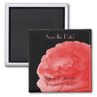 Wedding Save the Date Coral Rose Magnet