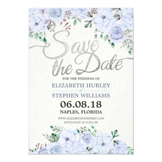 Wedding Save The Date Elegant Floral Silver Script Card