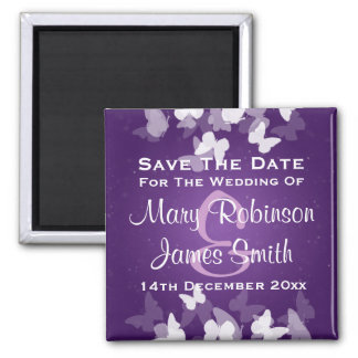Wedding Save The Date Elusive Butterflies Purple Magnet