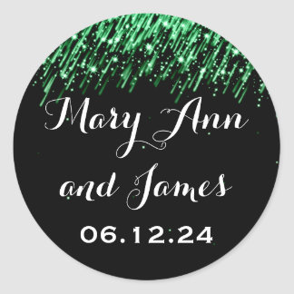 Wedding Save The Date Falling Stars Emerald Green Classic Round Sticker