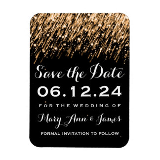 Wedding Save The Date Falling Stars Gold Magnet
