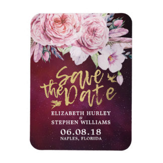 Wedding Save The Date Floral Feathers Burgundy Red Magnet